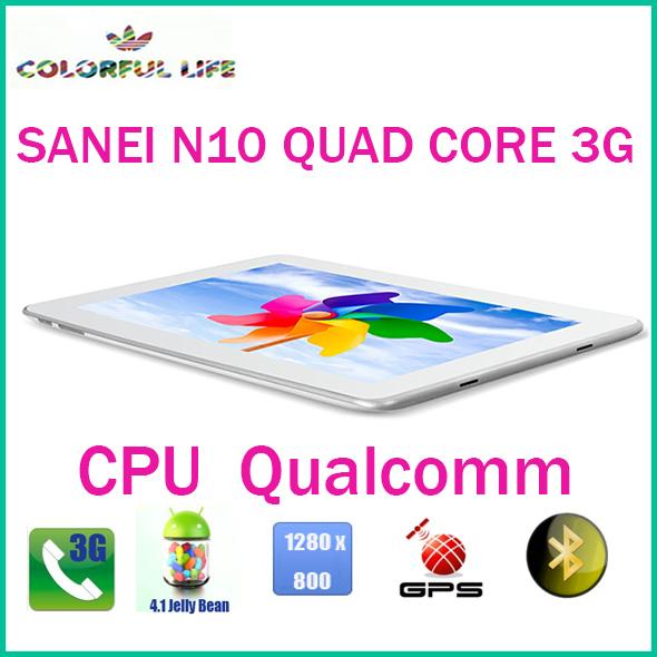 10.1 inch 3G Phone call tablet pc SANEI N10 QUALCOMM Quad core 3G GPS Bluetooth(China (Mainland))