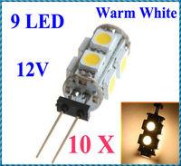 10pcs/lot G4 9 White SMD LED 5050 Light Home Car RV Marine Boat Lamp Bulb DC-12V Warm White Wholesale