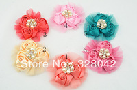 Trail order girl satin rosettes flower head silk rose mesh with Brilliant Pearl flower lovely wedding hair accessories 12pcs/lot