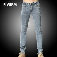 FIV5PM men's feet jeans male Korean tide counter genuine new grey hole elastic trousers