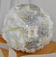 EMS Free Shipping Handmade Ivory Silk Rose Bridal Brooch Bouquet Shiny Crystal Beaded Wedding Flowers Bride Bouquet