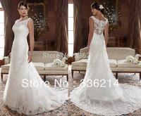 New White/Ivory Lace Wedding Dress  free shipping Custom Size 2-4-6-8-10-12-14-16-18-20-22+++