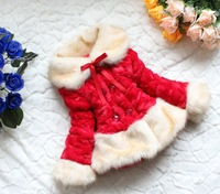 New 2013 Winter New Year 2 Colors  !Size 120-140cm Girls Children plush Coat Girls Jacket Children Outerwear