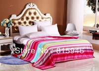 2013 new arrive180x200cm Hawaii stripe corcal fleece blankets winter bedding thickening double cover 360g/ps +free shipping
