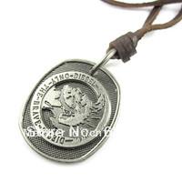 Wholesale(Min.Order $15)100% Genuine Leather 2013 Men Long Necklace Punk Vintage Leather Necklace Badge Pendant Gifts VN030