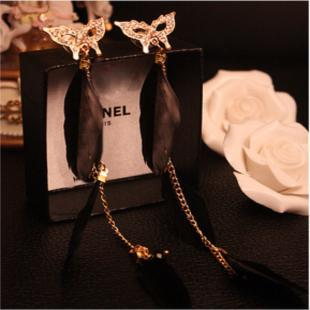Min.order is $10 (mix order) New design fashion Baroque style mysterious mask butterfly feather earrings jewelry women