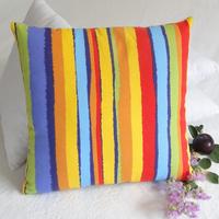 45CM  Multicolour  Stripe  cushion cover striped acitve dyed cotton canvas back cushion cover standard sofa cushion