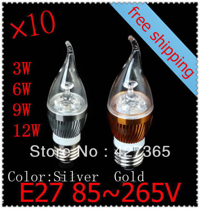 Special E27\E12\E14 holder fitting 10pcs/lot CE AC85-265V 3w 6w 9w 12w Dimmable warm/cold white LED candle bulb corn lamp light
