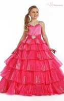 Red Flower Girl Dresses Layered Ball Gown with beading Floor-length Spaghetti Straps