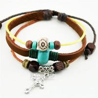 Wholesale Handmade Braided Cross Leather Adjustbale Rope Bracelets For Unisex 50pcs/lot Free Shipping