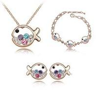 J06 Christmas Holiday Sale Kid Gift 18K White Gold Plated Fish Rhinestone Crystal Jewelry Sets wholesale Fashion Jewelry