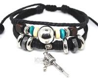 Hot Black Braided Leather Wrap Weave Charm Wristbands Friendship Bracelet Cow Leather Fashion Jewelry 50pcs/lot A0140