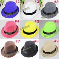Retail 9 Solid color Children Hat Dicers Sample of Baby Plain color Fedora Hats Cowboy Hat Kids Jazz Cap 10pcs/lot FH016