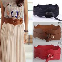 2014 fashion pu leather belt cummerbund wave decoration women belt female wide cummerbund free shipping