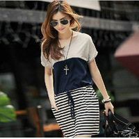 Free Shipping 2013 Hot Sales Casual Stripe Patchwork Bat sleeve Slim Fashion Women & Ladies Dress For Summer Wear