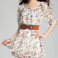 2014 summer Wild Style Women's Floral chiffon print dress Slim Waist cute dress With free Belt #2006