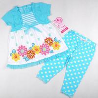 Free shipping 4set/ lot 4~7T girl summer clothing set one false blue cape short floral lace top + flowers blue legging