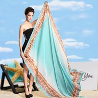 A-715 Bright color gradient super large beach towel chiffon silk shawl scarf summer sunscreen air conditioning silk scarf