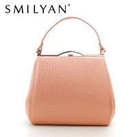Smilyan elegant crocodile pattern women tote bag vintage small gentlewoman handbag solid women purse and coin bags free shipping