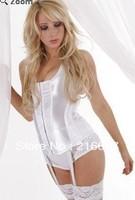 New design satin women sexy corset set strapless ladies' lace up bustier black size S-XL free ship