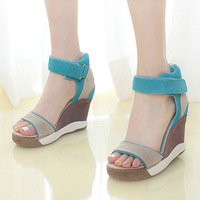 Ash candy color scrub shoes genuine leather wedges sandals platform shoes platform casual shoes sandals