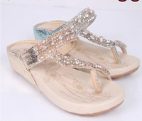 2013 summer bohemia women's shoes wedges platform flip-flop flip flops female sandals beaded rhinestone