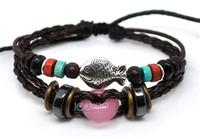 Fashion Cat Eye Stone Leather Charm Bracelets For Sale Free Shipping 50pcs/lot Free Shipping A0255