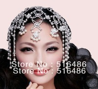 Free shipping  rhinestone tassel  pearl hairwear sparking Wedding accessories Korean tassel hair decoration /forehead jewelry