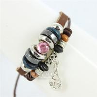 Fashion Pink Rhinestone Lover Leather Bracelets 2014 New Arrive Free Shipping 50pcs/lot A0257