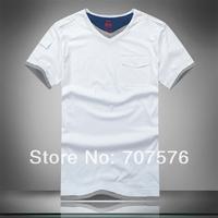 Quality clothing plus size short-sleeve T-shirt fashionable casual loose V-neck 100% cotton