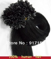 "Pre-bonded U/Nail tip REMY hair 100'S/BAG/LOT 50Gram Black color 1B# 18""20""22' Free shipping human hair extension"