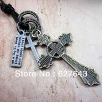 Wholesale(Min.Order $15)100% Genuine Leather 2013 Men Long Necklace Punk Vintage Leather Necklace Cross Pendant Gifts VN077