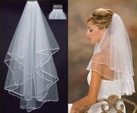 2T Ivory Wedding Bridal Ribbon Edge Comb Veil Wedding Veil Bridal Accessory Free Shipping&Drop Shipping, PH0006