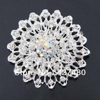 Most Popular Beautiful Silver Color Clear Rhinestone Crystal Small Flower Brooch Pins