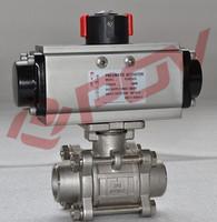 Pneumatic single acting welding 2 way actuator ball valve