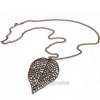 5pcs Retro Style Vintage Bronze 8.1*5cm chain long72cm Hollow Out Leaf girl Necklace 61781