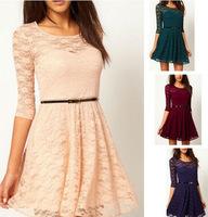 Sexy Spoon Neck 3/4 Sleeve Lace Sakter Dress Belt Include vintage dresses 3817j