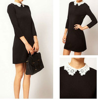 Sexy Slim Lady Woman lace collar dress Black Mini Dress 3782j