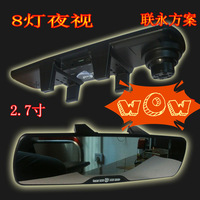 free shippment Novatek chip 2.7  LCD car mirror camera 1080p car camera recorder Rearview Mirror dvr with 8 led camera