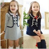 Cotton Long Sleeve Dresses girls Preppy Style Lapel collar girl's one-piece dress Spring Autumn kid clothing  630307J