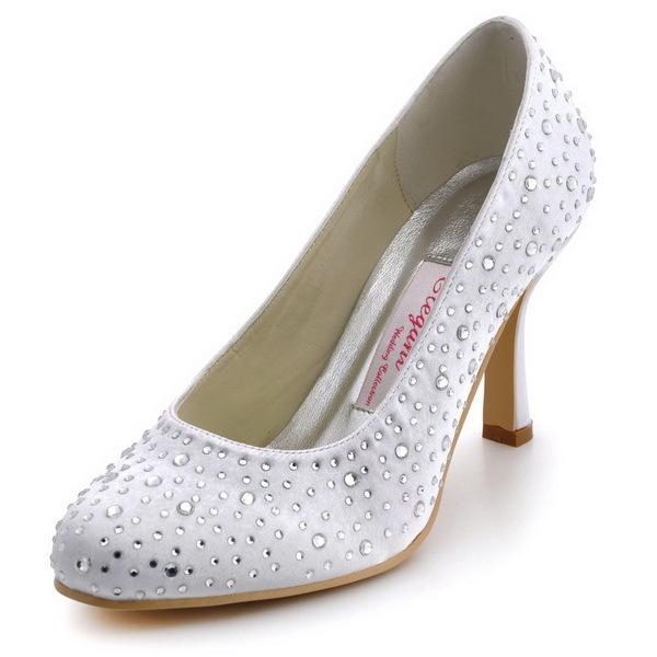 Wholesale & Retail 2013 Elegant Bridal Shoes EP2001 White Round Toe Rhinestone Spool Heel Satin Wedding Pumps(China (Mainland))