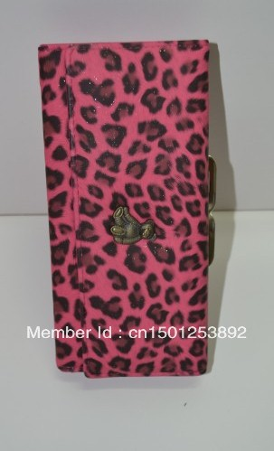 New Leopard Print Purse Female Long Design Buckle Drawstring Wallet(China (Mainland))