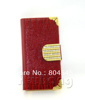 Luxury Diamond Magnetic Flip Wallet Credit Card Genuine Snake Leather Case Cover For Apple Iphone 4 4G 4S 5 5G 5S Bags SC44