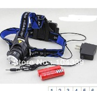 Free shipping CREE XM-L XML T6 LED Headlamp Headlight 1200Lum Zoomable Zoom IN/OUT Adjust A9+2pcs 18650 batteries+charger
