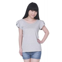 Free shipping!/2013 NEW Summer women girl Casual Puff sleeve t-shirt/Polka Dot,Bow Print