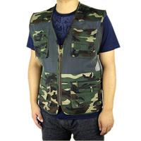 free shipping 2014 summer men's plus size fishing jacket Camouflage mesh vest outdoor casual multi-pocket waistcoat men Hot sale