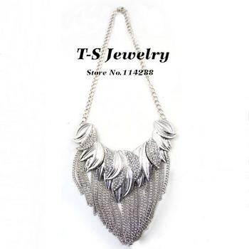2014 Trendy Women Collar Necklace New Arrival Rhinestone Tassel Plated Short Choker Statement Brand Name Jewelry Free Shipping