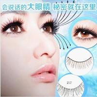 Free Shipping Handmade False eyelashes three trees 217 natural cross bare makeup Full strip lashes 10 pairs