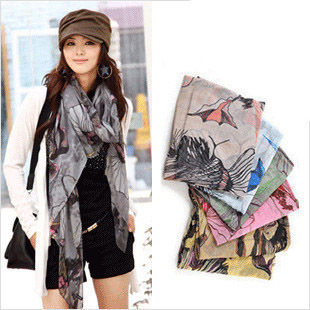 Free shipping new 2014 brand fashion spring autumn winter chiffon Flower print scarves Cotton silk scarf Shawl bandana wholesale
