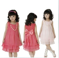 2013 summer clothing + pearl necklace girl chiffon dress, free shipping